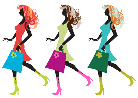 Vector illustration of walking young women silhouette during the shopping. Vector