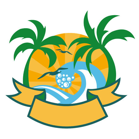 Vector illustration of tropical islands with beautifull palms, beach and seagulls.