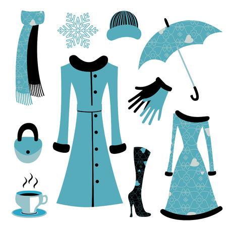 dress coat: Vector illustration di accessori donna insieme correlato alla moda glamour inverno.