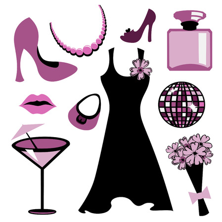 Vector illustration of woman accessories set related to glamour fashion. Vector