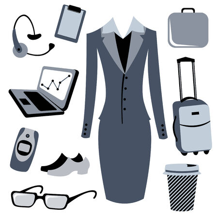 bussiness: Vector illustration of bussiness woman accessories set.
