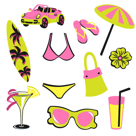 Vector illustration of woman accessories set related to summer glamour fashion. Vector