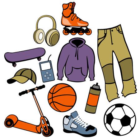 life style: Vector illustration d'accessoires homme posa li�es au mode de vie urbaine.