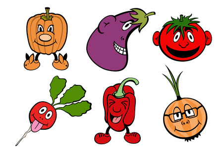 Vector illustration of funny, cute vegetable icons set. Vector