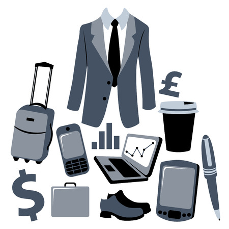 Vector illustration of bussiness man accessories set. Vector