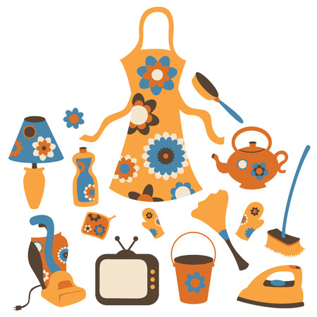 domestic chore: Vector illustration of housewife accessories icon set. Illustration