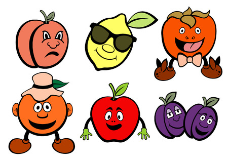 Vector illustration of funny, cute fruits icons set. Illustration