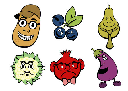 Vector illustration of funny, cute fruits and vegetable icons set. Vector
