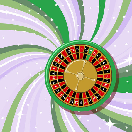 Vector illustration of casino roulette on the beautifull shiny background. Vector