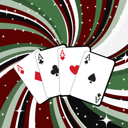 Vector illustration of gambling cards set on the beautifull background, decorated with stars and waves. Vector