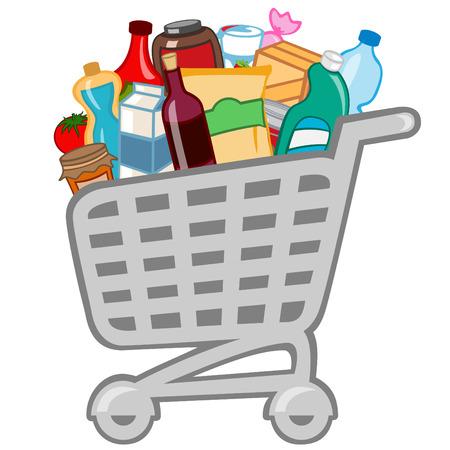 Ilustración vectorial de la cesta de la compra lleno de productos diferentes.
