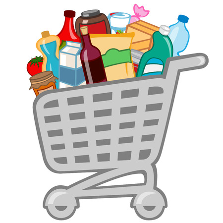 Vector illustration of shopping cart full of different products. Vector