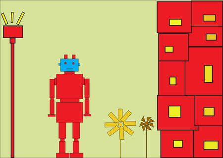 Vector illustration of funky Retro red robot Stock Vector - 4564854