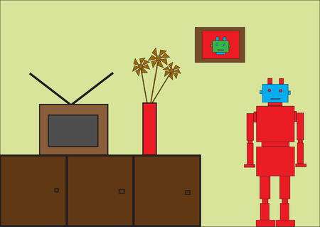 Vector illustration of funky Retro red robot Vector