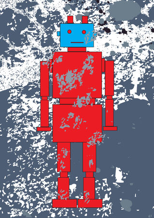 Vector illustration of funky Retro red robot on the  grunge background Stock Vector - 4598769