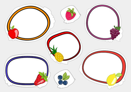 Vector illustration of cute retro frames on stickers style with funny fruits