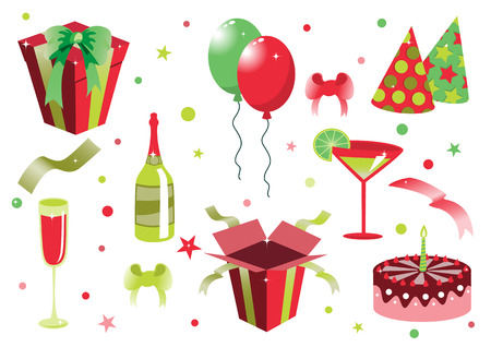 Vector illustration of funny birthday icons. Suitable for birthday cards and invotations. Vector