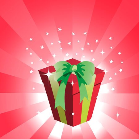 Vector Illustration of birthday giftbox on the shiny background. Vector