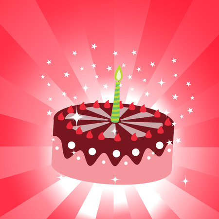 torte: Vector illustration of birthday cake with the candle.