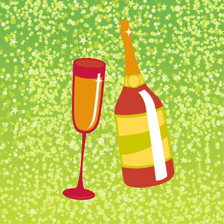 Vector illustration of wine bottle and  glass on the red background, decorated with beautiful stars. Vector