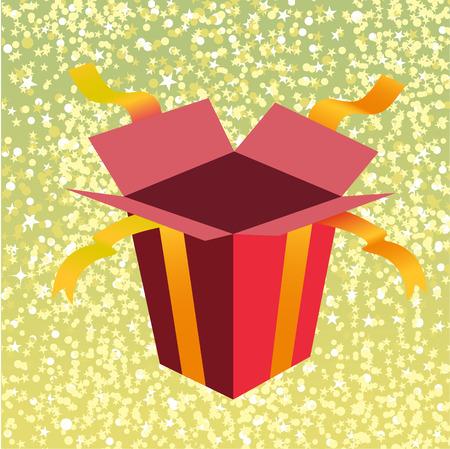 giftbox: Vector Illustration of open birthday giftbox on the shiny background.