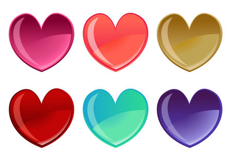 Vector illustration of beautifull hearts icon set. Ideal for Valetine Cards decoration. Stock Vector - 4618969