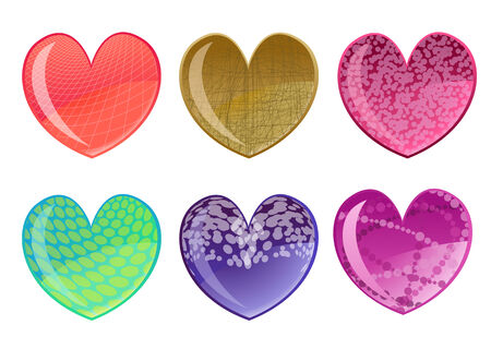 Vector illustration of beautifull hearts icon set. Ideal for Valetine Cards decoration. Stock Vector - 4618996