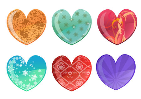 Vector illustration of beautifull hearts icon set. Ideal for Valentine Cards decoration. Vector