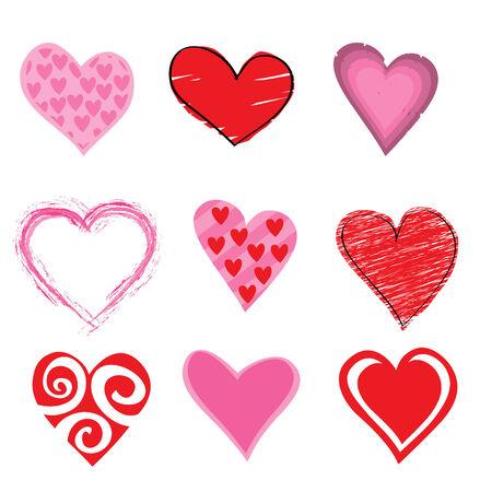 Vector illustration de l'ic�ne de coeurs beautifull set. Id�al pour la d�coration Valetine Cards.