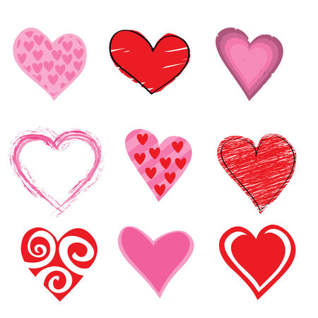 Vector illustration of beautifull hearts icon set. Ideal for Valetine Cards decoration. Stock Vector - 4618994