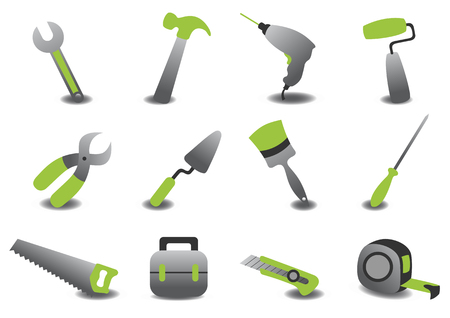 drill: Vector illustration of professional repairing tools icons. Illustration