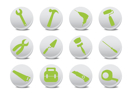 Vector illustration of different kinds of proffesional instruments. Repairing tools icon set. Stock Vector - 4618962