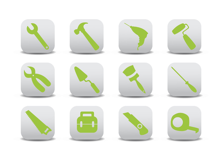 Vector illustration of different kinds of proffesional instruments. Repairing tools buttons set. Stock Vector - 4618963