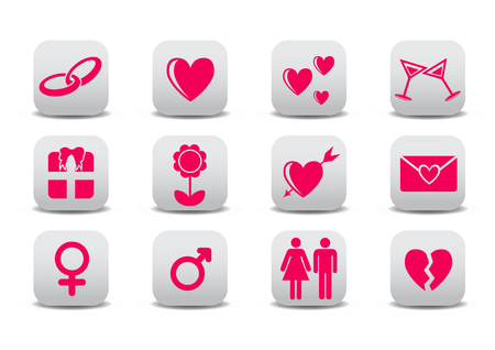 Vector illustration of Love icons.  Ideal for Valetine Cards decoration Stock Vector - 4618965