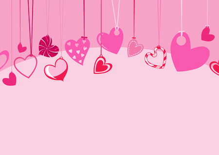 Vector illustration of Valentines Day background, decorated with beautifull hearts.