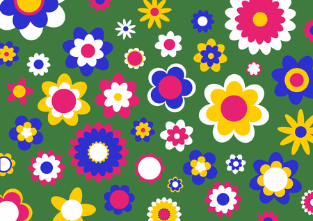 Vector illustration of multicolored funky flowers abstract pattern on green background Stock Vector - 4619050