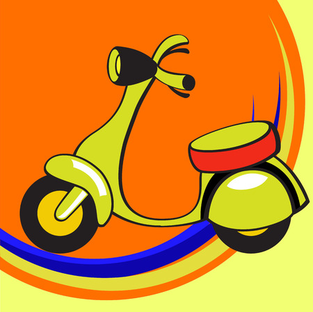 vespa: Vector illustration of  Transport Cartoon  . Little funny scooter.