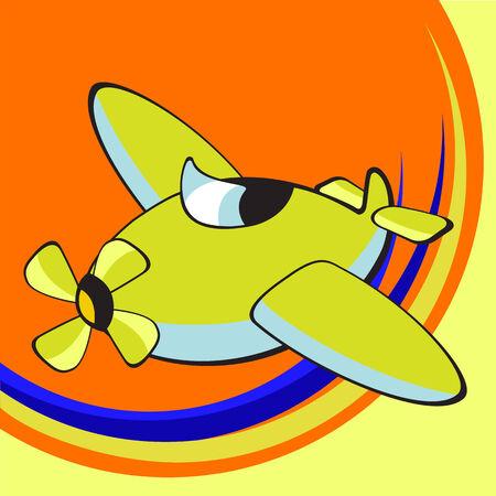 aviations: Vector illustration of Transport Cartoon. Little funky airplane Illustration