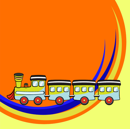Vector illustration of Transport Cartoon. Little funny train Vector