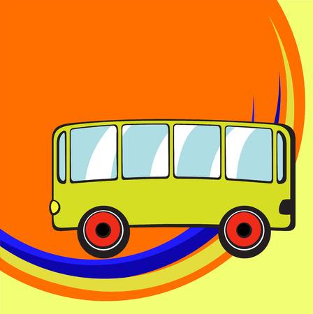 Vector illustration of Transport Cartoon . Little funny bus. Vector