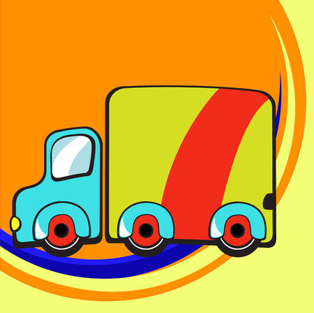 Vector illustration of Transport Cartoon. Little funky truck Vector