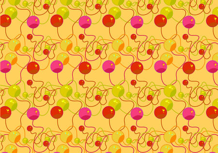Vector illustration of Colorful  beads pattern . Retro abstract funky  background . Vector