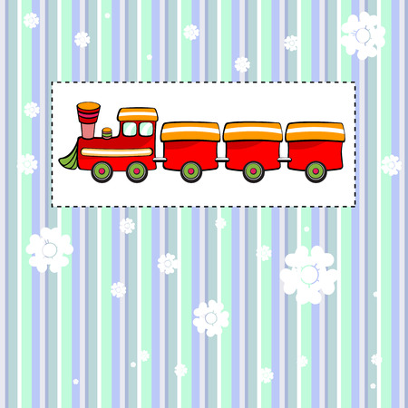 Vector illustration of funky Vintage Gift card with cool red train Vector