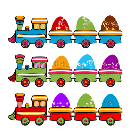 Vector illustration of cute retro color train with funny Easter Eggs