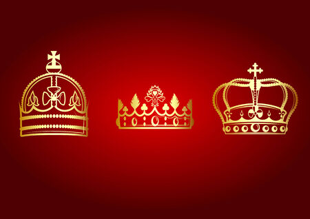 Vector illustration of beautifull crowns set on the red background. Vector