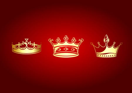 Vector illustration of beautifull crowns set on the red background. Stock Vector - 4619000