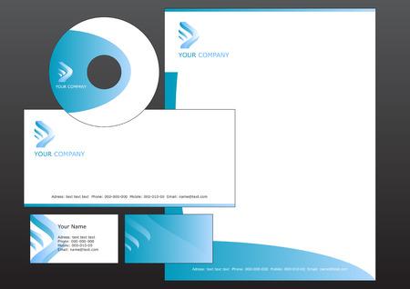 Vector illustration of modern, corporative set. Includes the design for bussiness card, letterhead, CD label and envelope Illustration