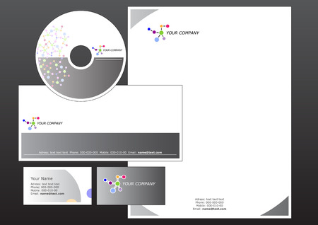 cd label: Vector illustration of modern, corporative set. Includes the design for bussiness card, letterhead, CD label and envelope.