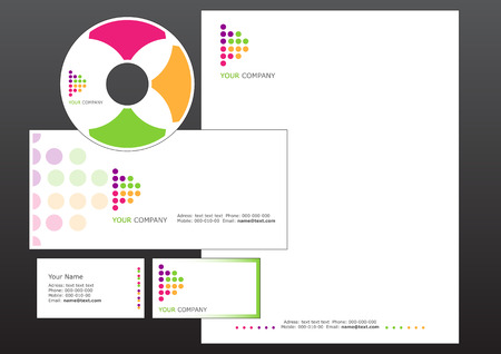cd label: Vector illustration of modern, business design elements. Includes the design for bussiness card, letterhead, CD label and envelope.
