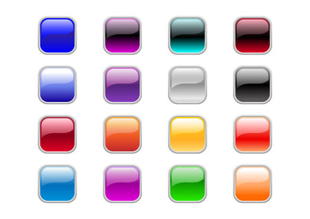 Vector illustration of modern, shiny, square buttons. Illustration
